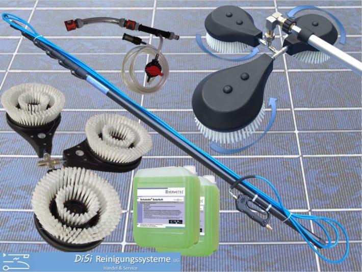 Photovoltaik-Reinigungsset-Solar-Bürste-Rotierend-Teleskoplanze-Entkalker-Injektor